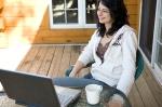 woman computer deck