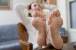 woman feet up